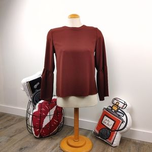 WILFRED • ARITZIA | Burgundy Bell Sleeve Blouse